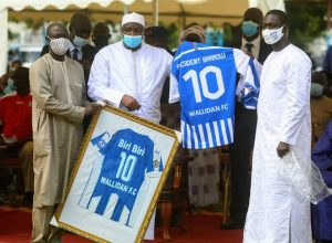 President Barrow mask masker biri biri football player gambia
